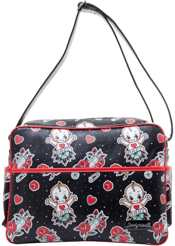 SOURPUSS BABY KEWPIE DIAPER BAG - New parents, your prayers have been answered! An adorable, yet functional, and visually awesome bag has been formulated just for you!! This vinyl (easy to clean) diaper bag features an all-over Kewpie and baby bottle print, interior satin lining and a changing pad for all your baby travel needs. The adjustable strap will keep you comfy and its cross-body potential will make toting your little one and their endless daily supplies easy as can be!