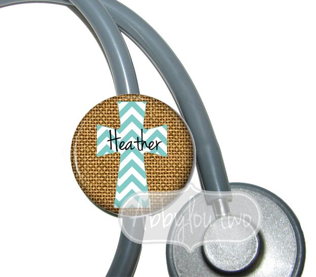 Burlap Chevron Cross Stethoscope ID Tag Badge Reel #idtag #badgereel #idholder #abbyloutwo #name #badgeholder #stethoscopeidtag #stethoscope #initials #monogrammed #personalized