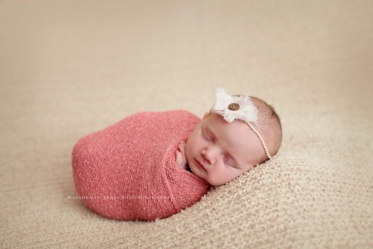 Newborn baby girl all wrapped up newborn stretch wrap fabric fancy fabrics headband some