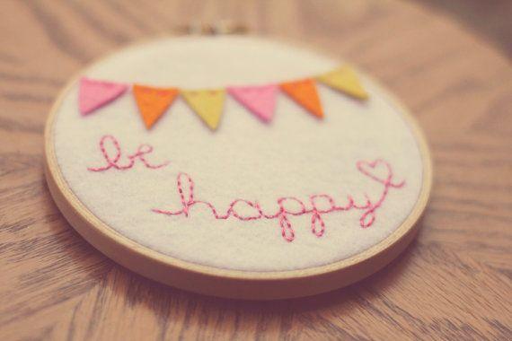 Saturday Stitches: Be happy!  by CatshyCrafts, $50.00, Etsy