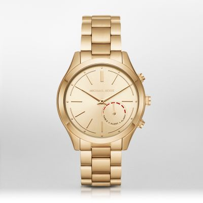 Michael Kors Acess Slim Runway Gold-Tone Hybrid Smartwatch Technology meets jet-set style with the ladies' Michael Kors Slim Runway Hybrid Smartwatch. Combining the functionality of a world-class tracker with the beauty of a traditional watch, this gold-tone Hybrid Smartwatch features a champagne sunray dial and is finished with a three-link bracelet. Powered by the Michael Kors Access app, the Hybrid Smartwatch is compatible with iPhone and Android devices and is battery powered, so does…