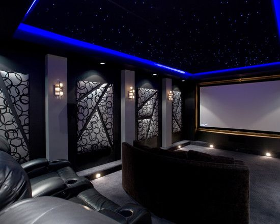 Fiber optic lights in home theatre like the artwork and colour scheme theatre gym room - Home entertainment design ...