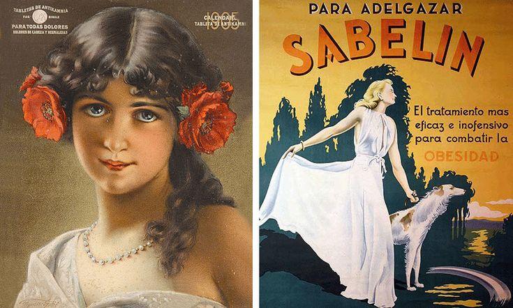 Tabletas de Antikamnia de 1905 y Adelgazante Sabelin, 1930