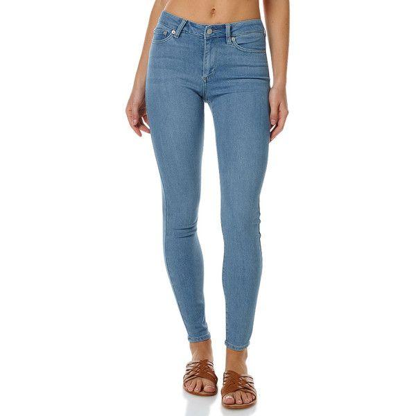 Riders By Lee Mid Vegas Womens Jean Blue ($75) ❤ liked on Polyvore featuring jeans, blue, women, high waisted jeans, high waisted skinny jeans, leather skinny jeans, blue skinny jeans and leather jeans