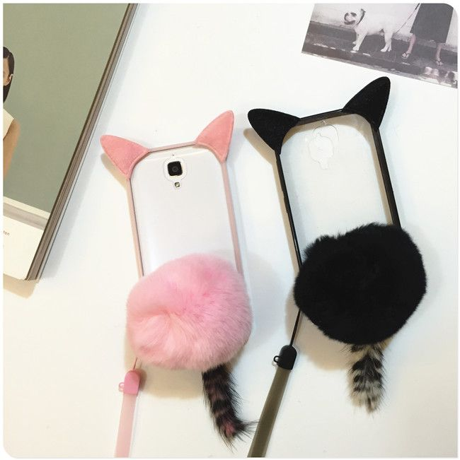 Cartoon Cat Ear Tail Fluffy Transparent Case For XIAOMI RedMi Note 2 3 3x 3s Soft TPU+PC Back Cover With Plush Fur Ball