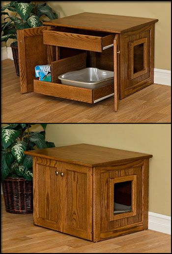 Pinnacle Woodcraft Cat Litter Box - Store all necessary items in the optional drawer and clean the litter box with ease using the slide-out litter tray drawer accessible by opening the side doors.  20+ colors in Oak, Brown Maple, and Cherry wood.