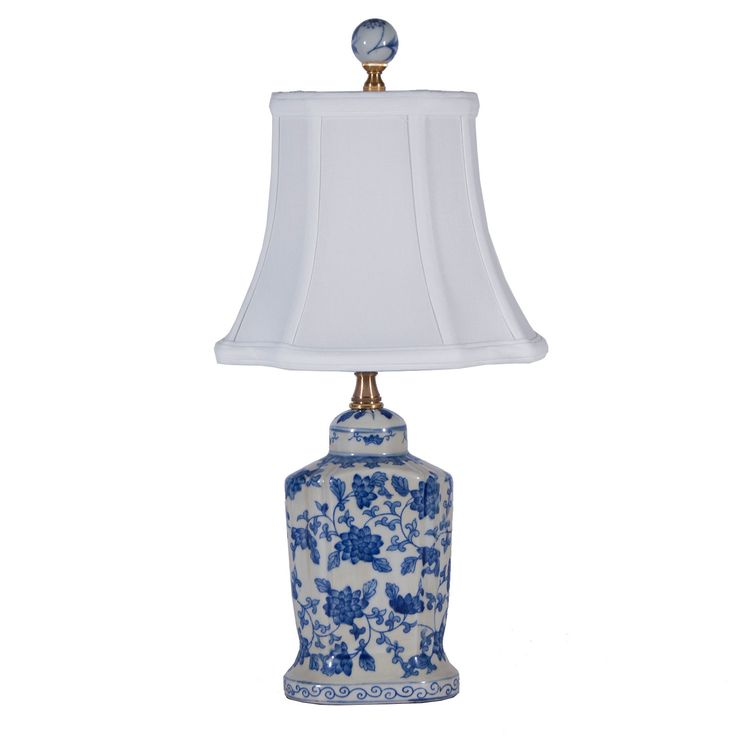 Small Charming Blue White Oval Porcelain Lamp