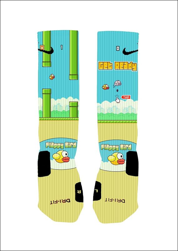 Hey, I found this really awesome Etsy listing at https://www.etsy.com/listing/190219285/custom-flappy-bird-socks-custom-nike
