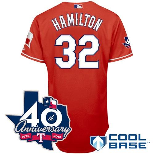 Texas Rangers Authentic 2012 Josh Hamilton Alternate 1 Cool Base Jersey w/  Anniversary Patch