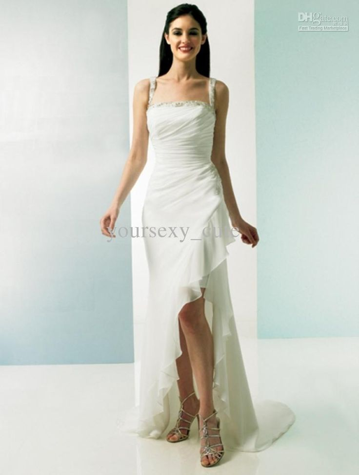 low cost wedding dresses in atlantga%0A Elegant High Low Wedding Dresses Spaghetti Strap Empire Beadings Sequins  Side Slit Wedding Gowns