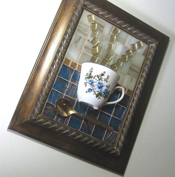 Blue Floral Teacup Mosaic Wall Art by MashedPotatoMosaics on Etsy, $47.75