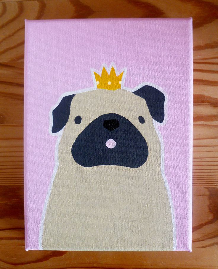 "Pug Princess Canvas, 7x5"" Canvas Art, Pug, Acrylic Canvas, Original Art by AnnetteJonesArt on Etsy https://www.etsy.com/listing/236006997/pug-princess-canvas-7x5-canvas-art-pug"