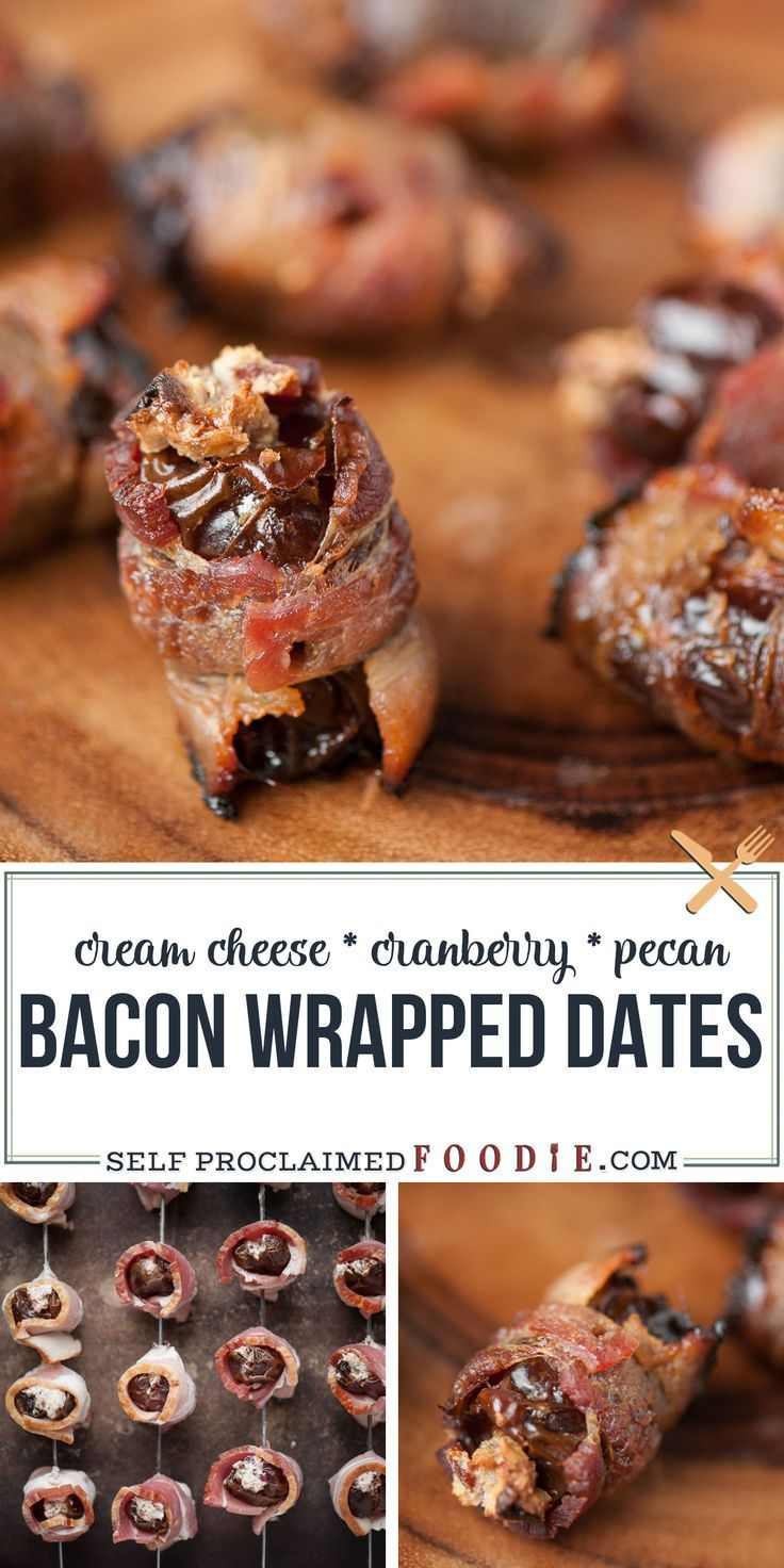 Bacon Wrapped Dates stuffed with cream cheese, dried