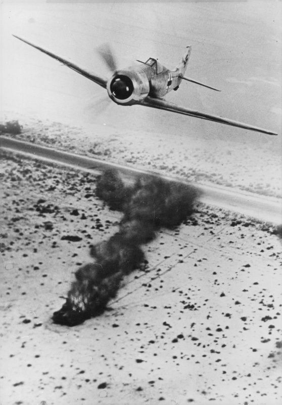 German fighter bomber Focke-Wulf Fw.190A-4 out of the attack in Libya