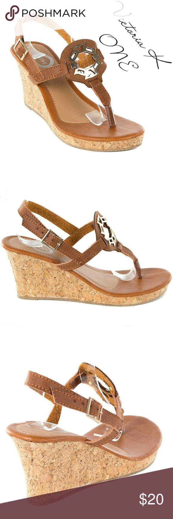 """Women Wedge Thong Sandals HS-2086, Camel Brand new Victoria K open toe thong slingback sandals in PU leather with a beautiful metal symbol in the front. From the ONE collectuon. Approx 2.5"""" platform, cushioned sole, very comfortable. Perfect for a summer vacation! A true statement in ladies shoes fashion! If you are between sizes, order up - they run a tad tight. Tory K  Shoes Sandals"""