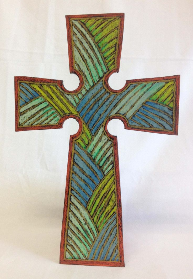 Wooden Cross embellished with colored pencil designs by WoodenGrace on Etsy