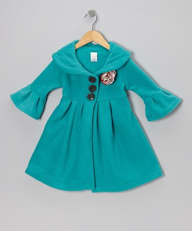 Teal & Red Flower Dress Coat - Toddler & Girls