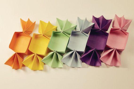 Caixinha de Origami em formato de Bombom