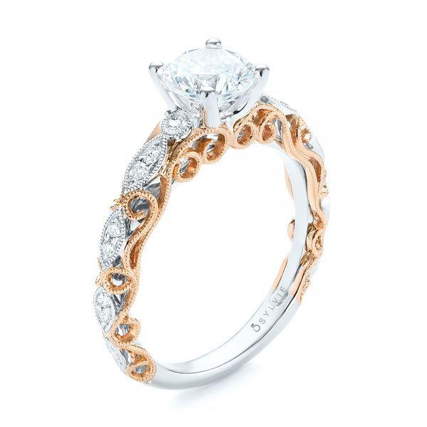 Two Tone Filigree Diamond Engagement Ring