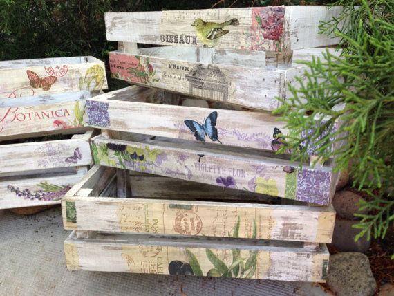 Wooden crates decorated vintage by lasillazul on Etsy
