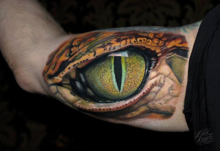 Reptile Eye Inner Bicep | Best Tattoo Ideas & Designs