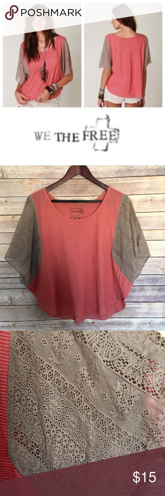"We The Free Free People Lace Striped Batwing Top We The Free Free People striped batwing top with laced detail.  Women's size small.  Has lace detail on batwing sleeves, beige/brown stripes on top.  Body is 60% cotton, 40% polyester.  Lace is 80% nylon, 10% spandex.  Pre-owned, great condition.  Armpit to armpit- 15"" length- 22.5"" Free People Tops"