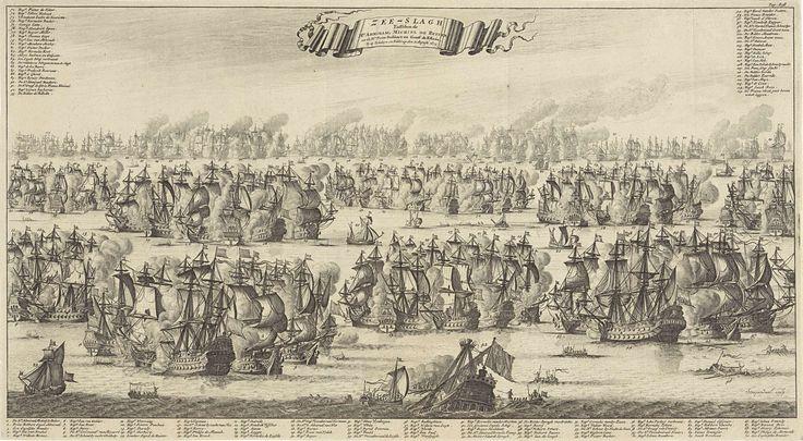 Bastiaen Stopendael | Zeeslag bij Kijkduin, 1673, Bastiaen Stopendael, 1687 | Zeeslag bij Kijkduin, 21 augustus 1673. Zeeslag voor Kijkduin bij Den Helder en Texel tussen de Staatse vloot onder Mchiel de Ruyter en Cornelis Tromp en de gecombineerde Engels-Franse vloot onder prins Rupert en de graaf Jean d'Estrées (II). Onderaan en bovenaan de legenda 1-115 in 3 delen.