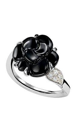 chanel camellia onyx ring