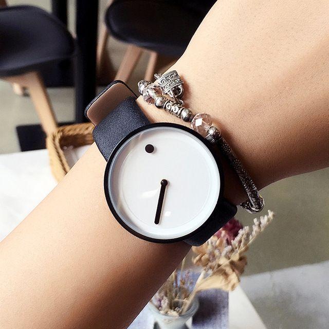 2017 cool zwart-wit Minimalistische stijl polshorloge bgg creatieve ontwerp Dot en Lijn eenvoudige stijlvolle quartz mode horloge gift