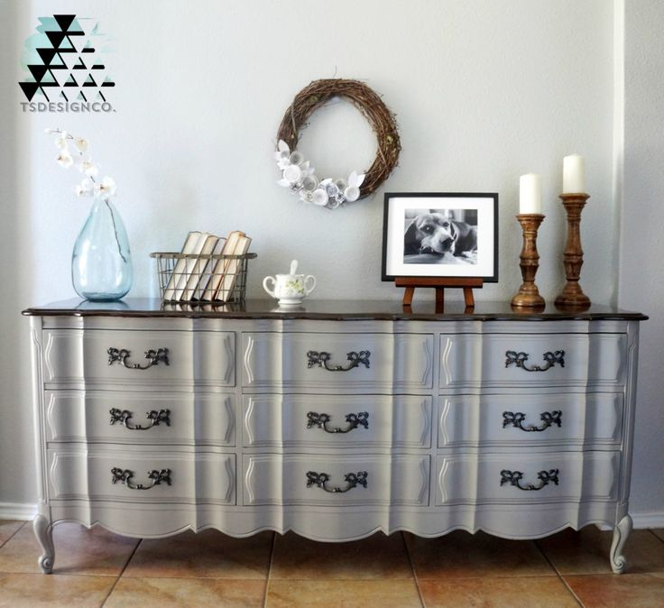 French Linen Chalk Paint® on Dresser | Project by Team Sutton Designs
