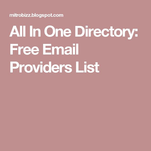 All In One Directory: Free Email Providers List