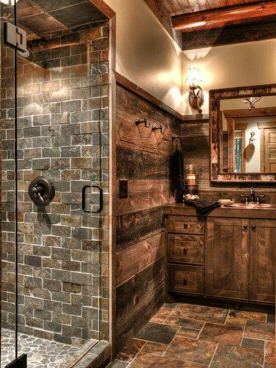 If you're a fan of rustic homes, this bathroom is for you!