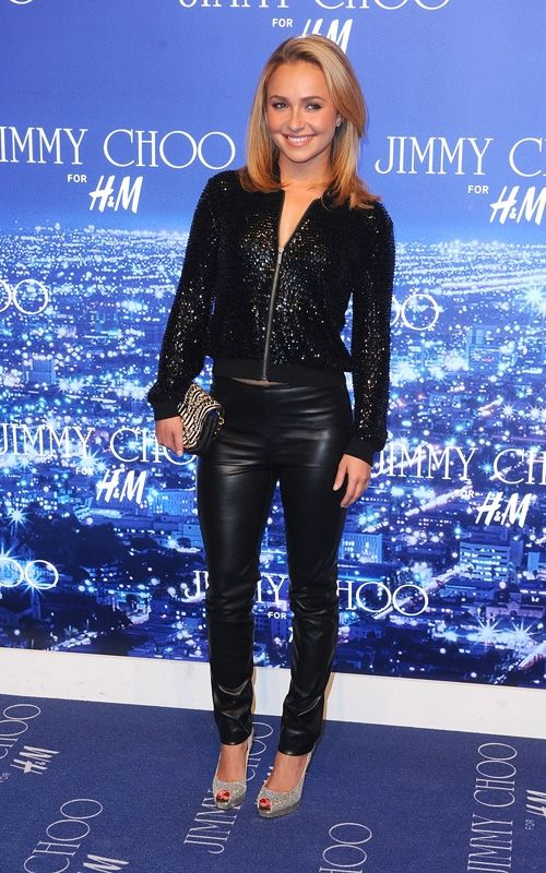 Hayden Panettiere wearing Jimmy Choo For H&M Leather Leggings, Jimmy Choo For H&M Sequin Cardigan and Jimmy Choo For H&M Clutch with Chain Handle.