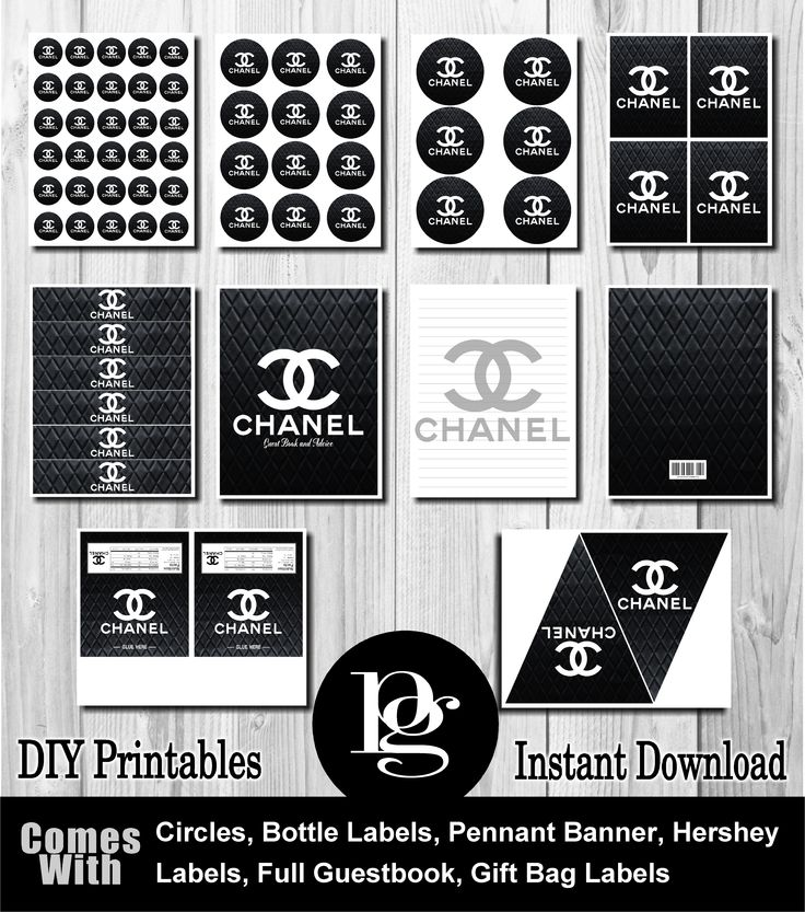 Chanel Birthday Party Favors - DIY $14.95 - Chanel party favors, Chanel party supplies, Chanel decor, Chanel theme, Chanel decorations, Chanel party ideas, Chanel Printables, Chanel digital files, Chanel downloads, etsy, platinum graphics, match my party theme - matchmypartytheme.com