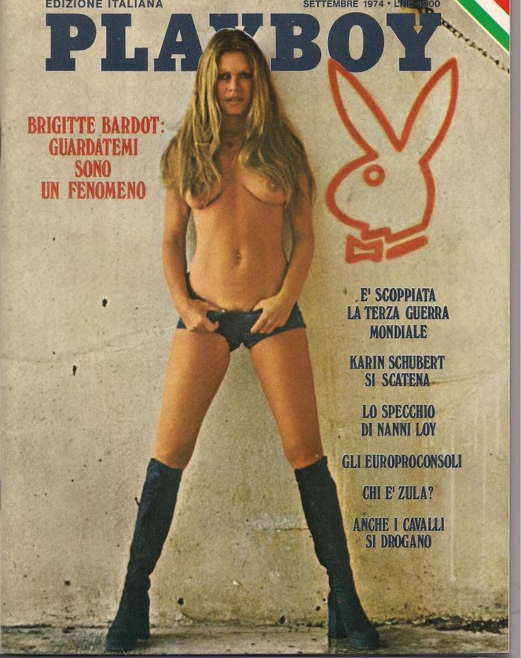 Brigitte Bardot, from Playboy, Italian edition, September 1974. This cover shot (and presumably others from the same shoot) featured on the front cover of Mayfair not long afterwards.