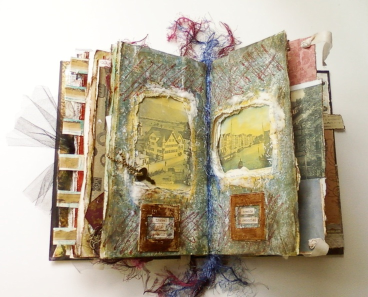 Altered Mixed Media Book Journal, Historical Art Imagery. $75.00, via Etsy.