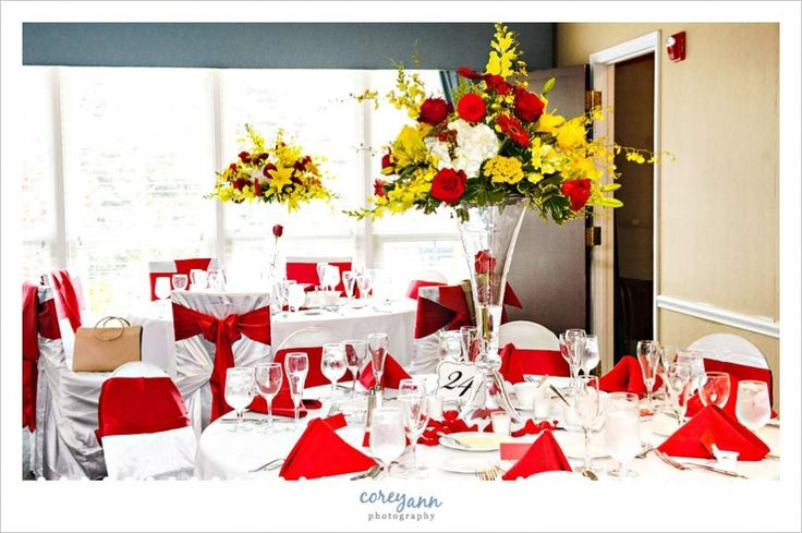 Images Of White Wedding With Red And Yellow Accents Google Search Recipes Pinterest Reception