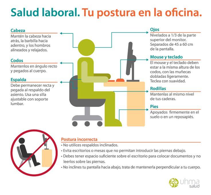 Salud laboral. Infografía para mantener una postura adecuada en la oficina. / Infographic Occupational Health.