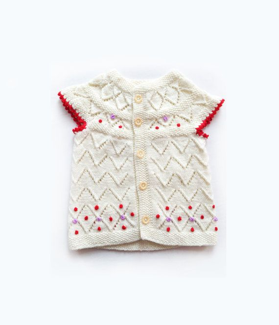 Baby girl vest Knitted baby vest Knit baby clothes by GuruMIme