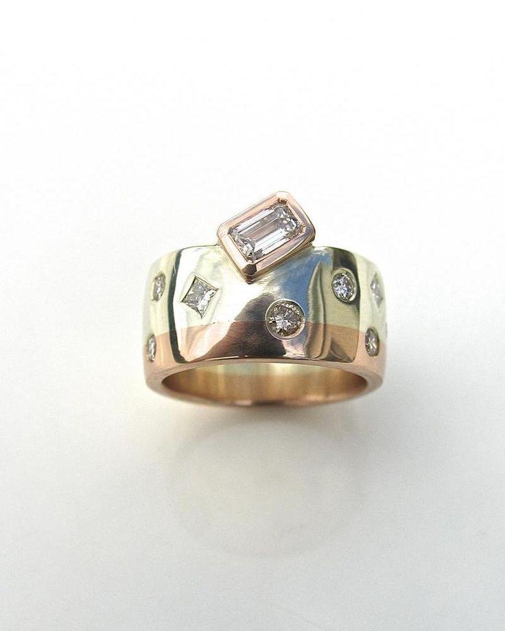Elegant contemporary wedding ring alternative engagement ring custom made jewelery emodeling old rings