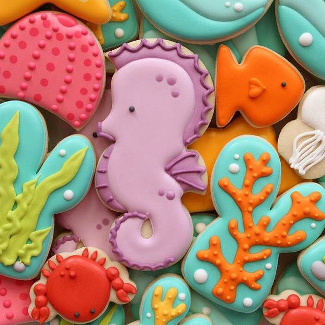 SugarBelle's - sea horse sea life cookies