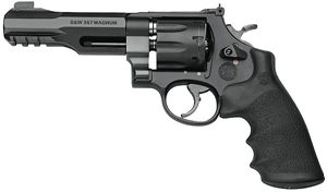 """Show details for Smith & Wesson Performance Center Model 327 M&P R8 DA/SA Revolver - 357 Mag/38 S&W Special +P, 5"""",Matte Black, Scandium Alloy, Stainless Cylinder, Synthetic Grip, 8rds, Interchangeable Front & Adjustable V-Notch Rear Sights"""