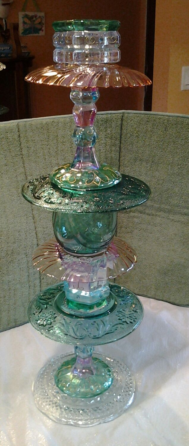 This fancy cut glass garden totem will make your garden sparkle and shine.