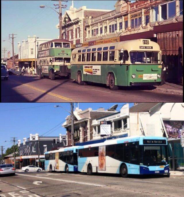 "Buses waiting at ""the paper shop stop"" Lyons Rd Drummoyne c1970 & 2015 [c1970-Sydney Bus Museum>2015 -Phil Harvey]"