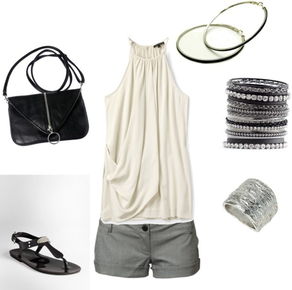 """Warm Summer Night Out!"" by olmy71 ❤ liked on Polyvore: Date Night, Shorts Outfit, Dressy Outfit, Summer Style, Cute Summer Outfit, Closet, Summer Night, Gray Shorts, Evening Outfit"