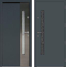 Drzwi wejściowe ze wstawkami ze stali nierdzewnej inox model 417,1-417,11+ds1 w kolorze antracyt