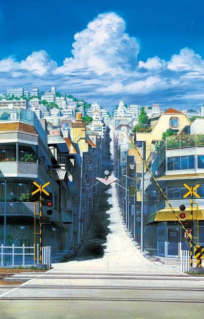 真琴の通学路の坂です。物語でも重要な鍵を握っている、坂。ちなみに絵の奥に描かれている、やわらかそうな大きな雲。この描き方の雲は、二三さんの名前をとって「二三雲」と呼ばれるようになったとか。