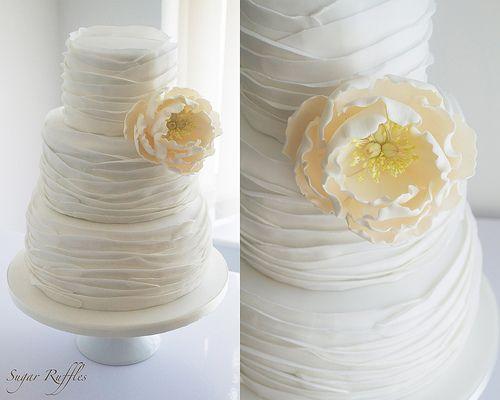Peony Ruffle Wedding Cake-pinning for the ruffles, not the peony