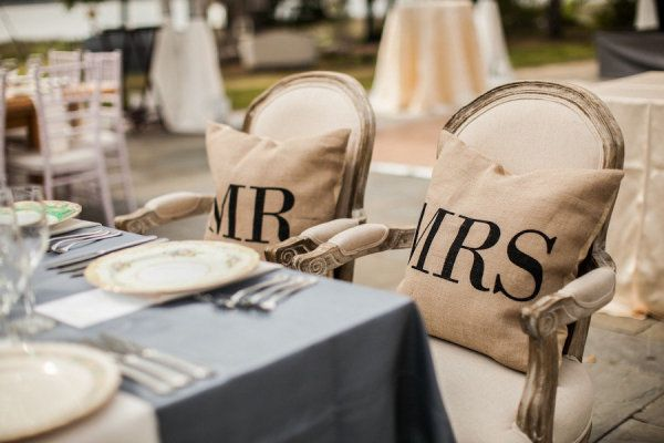 Mr. and Mrs. pillows, perfect for your sofa after the big day: Wedding Tables, Events Coordinating, Make Pillows, Floral Design, Wedding Decor, Acharlestonbrid Com, Sweetheart Tables, Chairs Ideas, Big Day