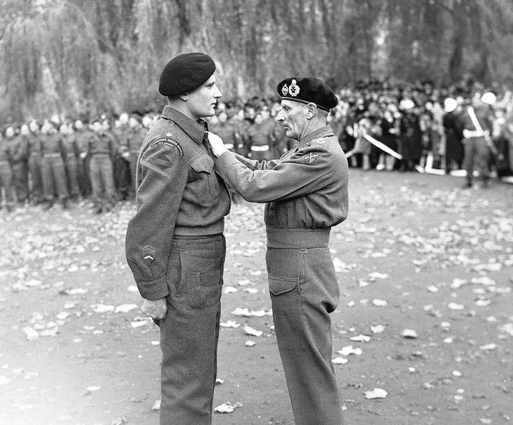 Major Radley-Walters receives the Military Cross from General Bernard Law Montgomery in Ghent, Belgium, October 1944.